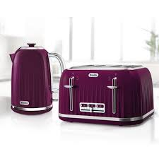 Impressions Collection 17L Jug Kettle And 4 Slice Toaster Set Damson
