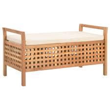 lifestyle sitzbank mit stauraum 93 49 49 cm walnuss massivholz