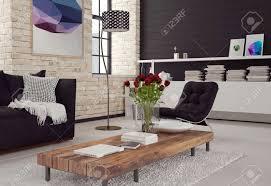 3d moderne wohnzimmer interieur in schwarz weiß dekor mit texturierten ziegelwänden einem sofa und sessel um einen couchtisch und schrank mit bücher