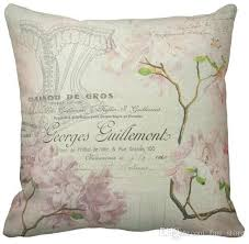 24 X 24 Patio Cushion Covers by Throw Pillow Case Pink Floral Vintage Chic French Script Home