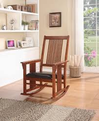 Mission Style Warm Oak Finish Rocking Chair With Cushion Seat