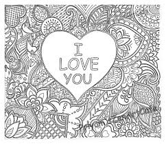 I Love You Art Zentangle Adult Coloring Page By SacredFigArts