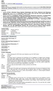 Sample Resume Electrical Engineer Fresher Engineering Rh Nmdnconference Com