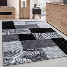 teppich modern designer wohnzimmer geometrisch kariert muster schwarz grau weiss