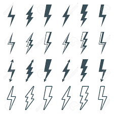Lightning Bolt Icons Set Thunderbolt Silhouette Sign Outline Flash Symbol Isolated On White