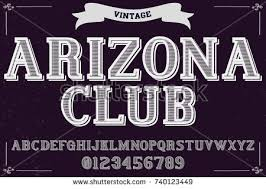 Vintage Font Handcrafted Vector Named Club Arizona