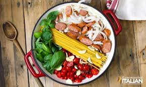 What You Will Need To Make One Pot Cheesy Pasta And Sausage