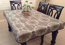 Fitted Round Outdoor Tablecloth With Umbrella Hole rustic print fitted tablecloth with skirt and doublefold bias