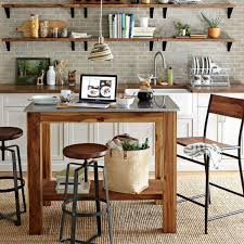 Kitchens Farmhouse Kitchen With Small Wood Table And Regard To Island Bar Stools Decorating