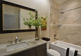 contemporary bathroom with tiled wall showerbath tile
