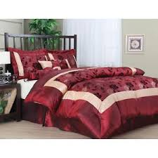 King Size forter Set 7 PC Burgundy Red Gold Bedspread Pillows