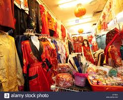chinese clothes shop in chinatown kuala lumpur stock photo