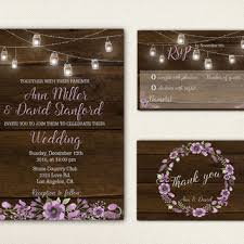 String Lights Mason Jar Wedding Invitation Printable Suite Wood Rustic Invite Set Digital Chic
