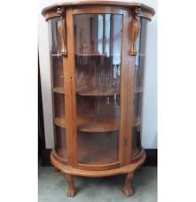 Curved Glass Curio Cabinet by Early 20th Century Carved Oak Bow Front Curio Cabinet Ebth