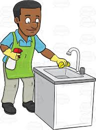 A Black Man Polishing The Kitchen Sink