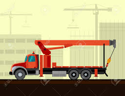 Boom Truck Crane Mounted On Truck With Construction Background ...