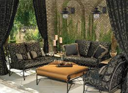 mediterranean outdoor wall with large potted plants patio