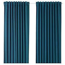 de ikea majgull blockout gardinen 1 paar blau grün