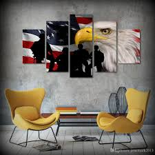 2018 Framed Hd Printed Rustic Usa Flag Eagle Picture Wall Art
