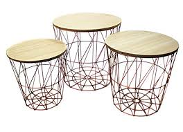 bada 3er set metall korb kupfer optik beistelltisch metallkorb couchtisch kaffeetisch wohnzimmertisch modern rund holz design tisch 3 größen 50
