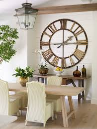 Wall Decor Clock Dining Room Transitional With Indoor Tree Large Glass Jugs