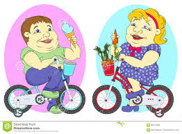 Two Fat People On Bicycles Stock Illustration Of Bike