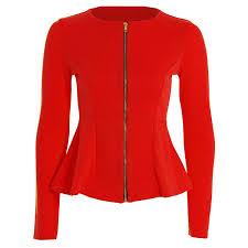 forever womens long sleeves plain zip peplum blazer jacket top at