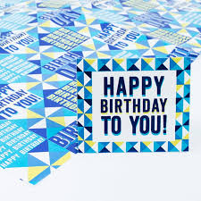 Blue Happy Birthday Luxury Foil Wrapping Paper Gift Tag