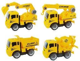 100 Construction Trucks TakeAPart Friction Powered With Crane Excavator Mixer Dump Truck