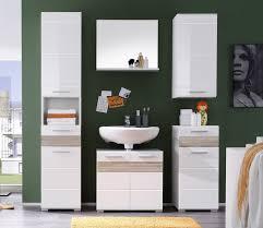 badezimmer set mezzo weiß hochglanz eiche sägerau hell 5 teilig
