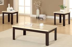 modern white granite top coffee table with brown painted oak wood