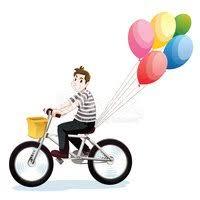 Ni±o Feliz Montar Bicicleta vectores en stock Clipart