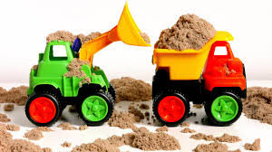 Construction Trucks Toys For Kids Paw Patrol Playing In Kinetic Sand ...
