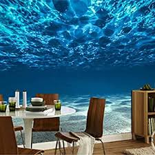fototapete 3d stereo blau meerwasser wandbild esszimmer