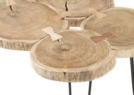 couchtisch cole wohnzimmertisch beistelltisch tisch massivholz akazie baumstamm 100 cm