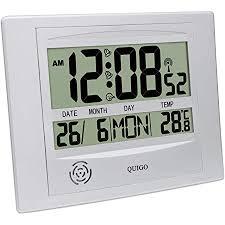 quigo wanduhr groß funk digital modern tischuhr küche wohnzimmer lautlos temperaturanzeige batteriebetrieben mehrere alarme silber