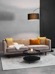 samt sofa dante 3 sitzer in beige mit holz füßen