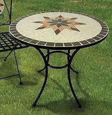 table ronde mosaique fer forge esschert design table de jardin fer forgé et céramique diam 60cm