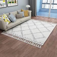 marokkanischen stil handgemachte geometrische gitter muster wohnzimmer boden matte türkische beige weiß wohnkultur schlafzimmer teppich mit quasten