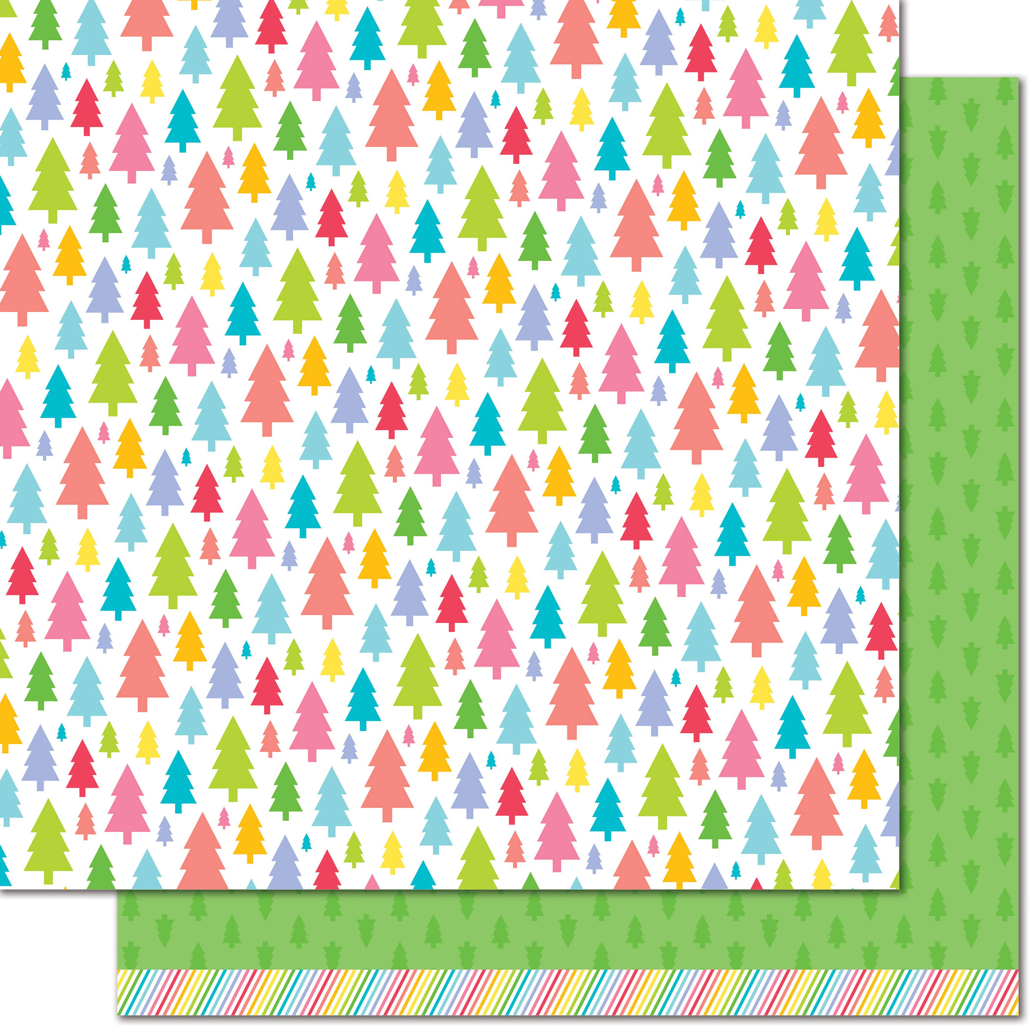 Lawn Fawn Really Rainbow Pine Tree Green Paper