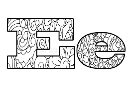 Download Anti Coloring Book Alphabet The Letter E Vector Illustration Stock