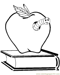Apple Worm Coloring Page