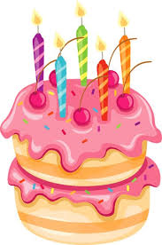 Birthday cake pink cake with candles clipart a