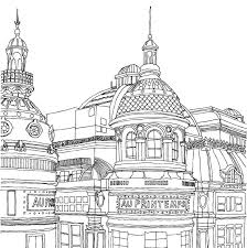 Au Printemps European Architecture Adult Coloring Page