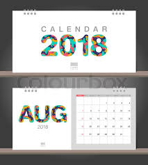 Desk Calendar Modern Design Template With Paper Cut Styles Week Starts On Sunday Vector Illustration