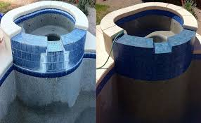 removing calcium deposits from the swimming pool tile amazing