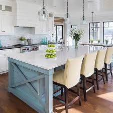 Pinterest White Blue Kitchen Island Wooden Stained Varnished Minimalist Contemporary Perfect Furnishing Ideas