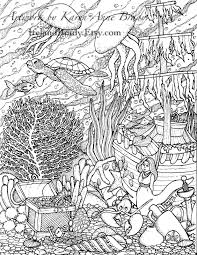 I Just Finished The Third Panel In Undersea Series Of Coloring Pages This One Is Complete With Jellyfish A Sea Turtle Sunken