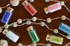 Download Mini Bottles With Beads And Beaded Handicrafts Jewellery Stock Image