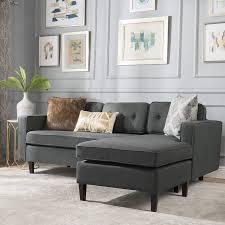 100 2 Sofa Living Room Christopher Knight Home 300435 Windsor Piece Chaise Sectional Scandinavian Mid Century Design Dark Grey Fabric